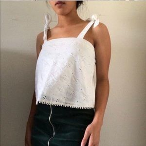 Aerie eyelet top with tie straps